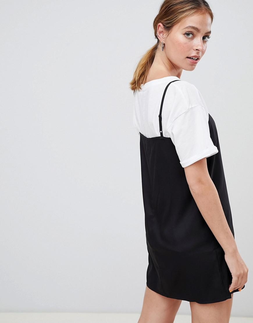 64bf2c87e83e1 Lyst - ASOS Asos Design Petite Square Neck Cami Slip Mini Dress in Black