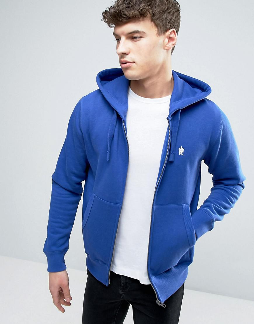 e4001eb5eeb French Connection Zip Through Hoodie in Blue for Men - Lyst