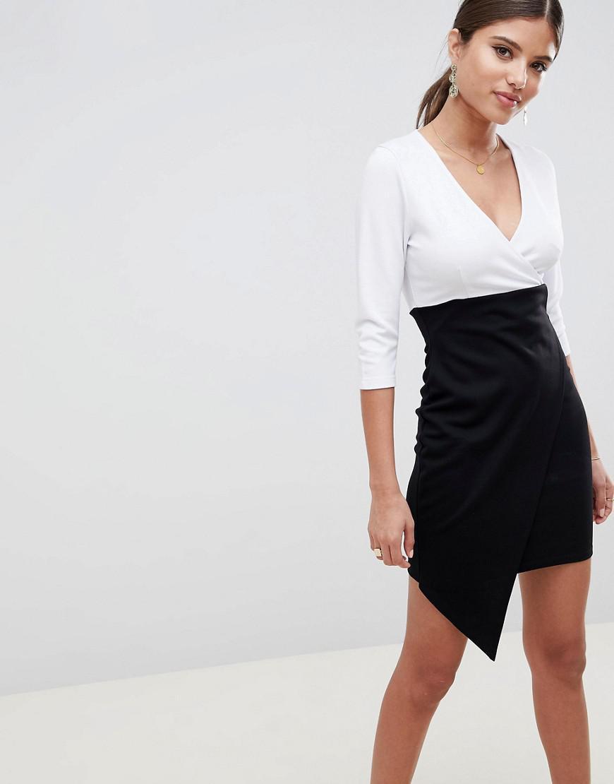 6a68d32a5435 ASOS. Women's Mono Colour Block Wrap Mini Dress
