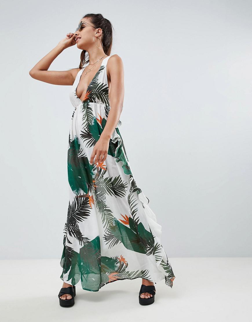 b9a2dbbbb471a ASOS Tropical Print Frill Back Beach Maxi Dress in Green - Lyst