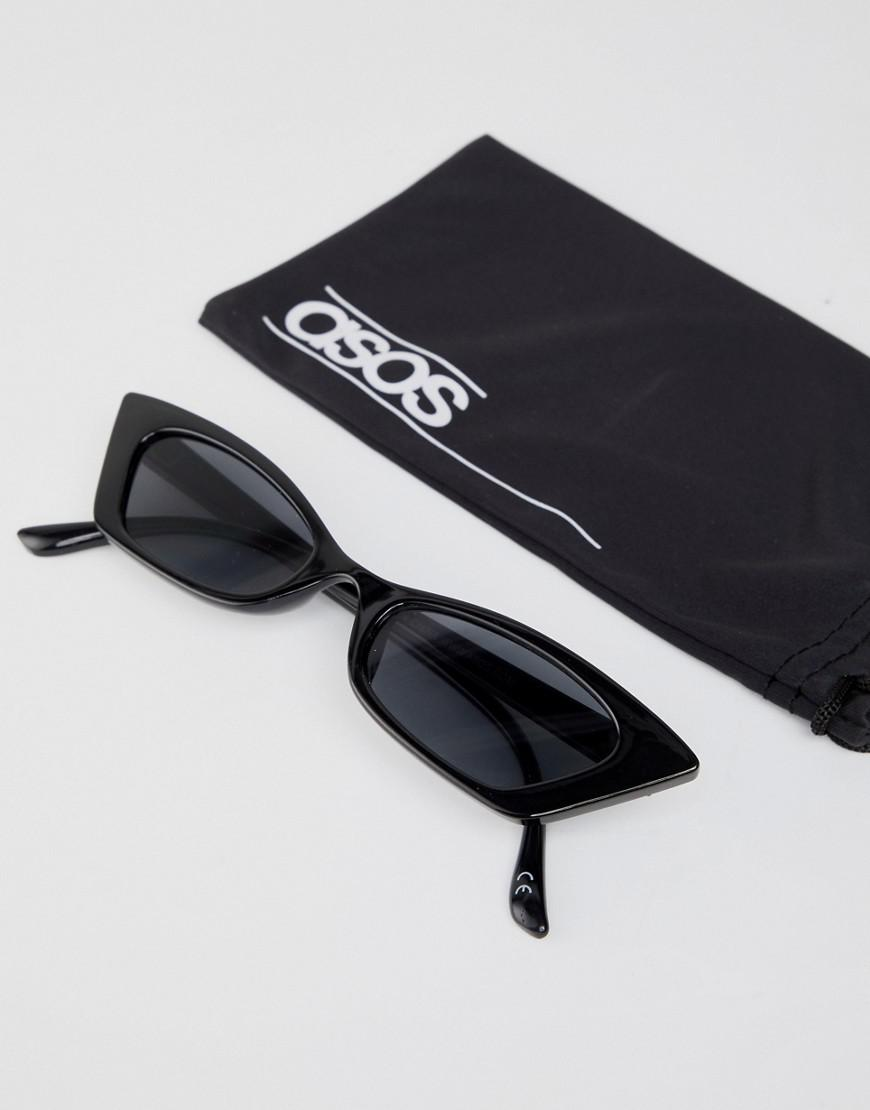 fcd5e76871 ASOS Squared Off Narrow Cat Eye Sunglasses in Black - Lyst