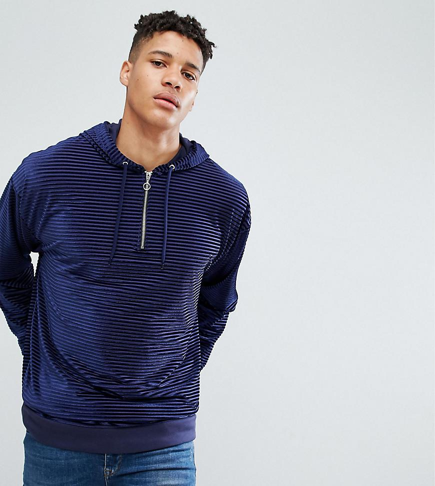 Cheap Visa Payment Cheap Price Outlet PLUS Oversized Hoodie In Striped Velour With Half Zip - Navy Asos Cheap Sale Cost 42abZclbZ