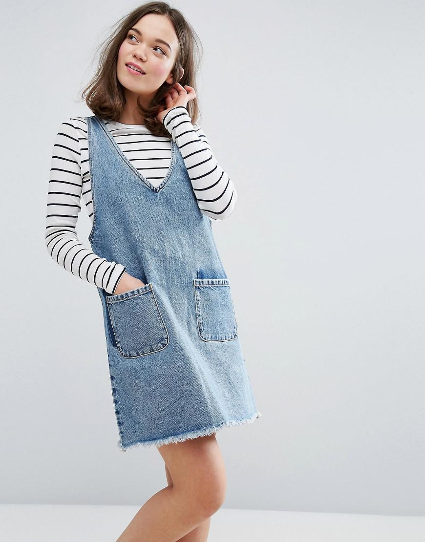 989043954f Lyst - Monki V Neck Denim Dress in Blue