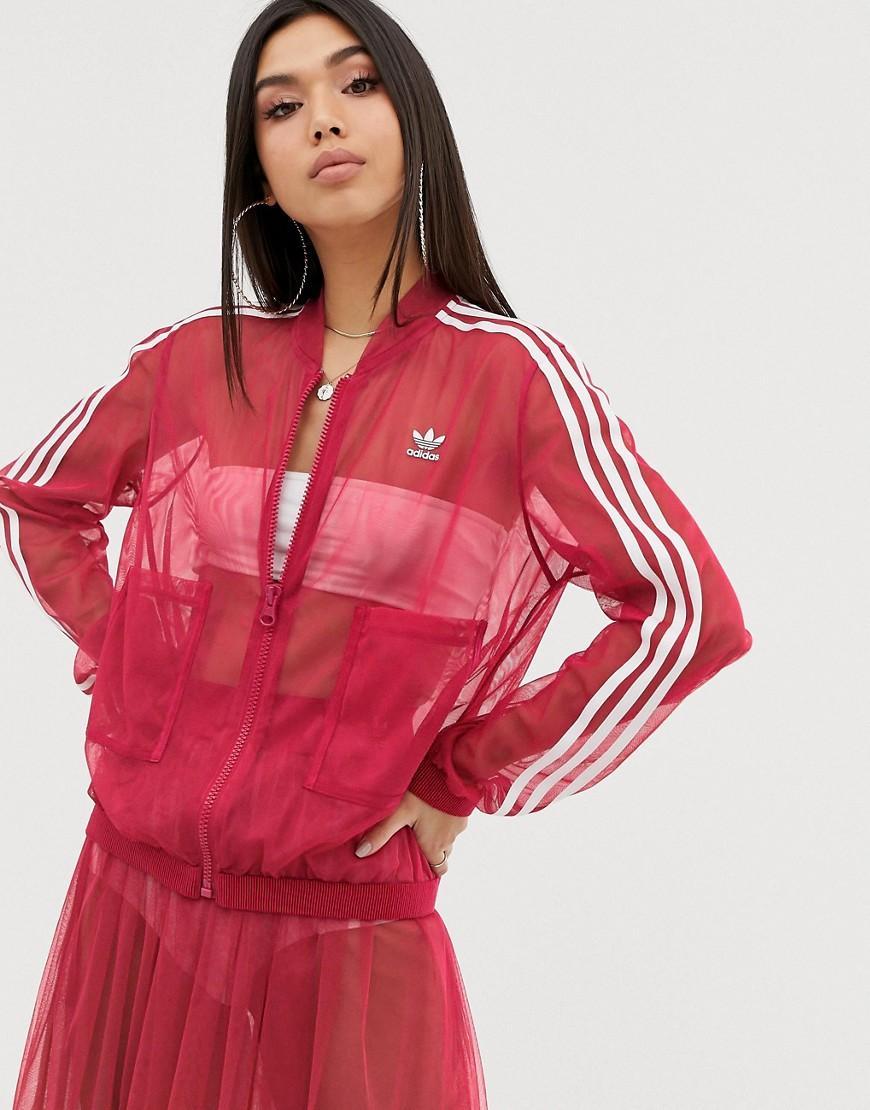 2c51fdbc8ca5 adidas Originals Sleek Mesh Tulle Track Jacket In Pink in Pink - Lyst