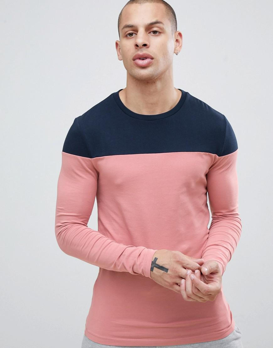 d136d8ca8 ASOS Muscle Fit Long Sleeve T-shirt With Contrast Yoke In Pink in ...