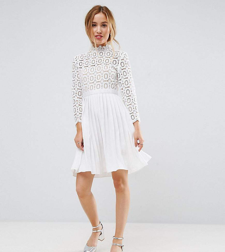4bf2feef3662 Lyst - Little Mistress 3 4 Sleeve Lace Top Pleated Mini Dress in White