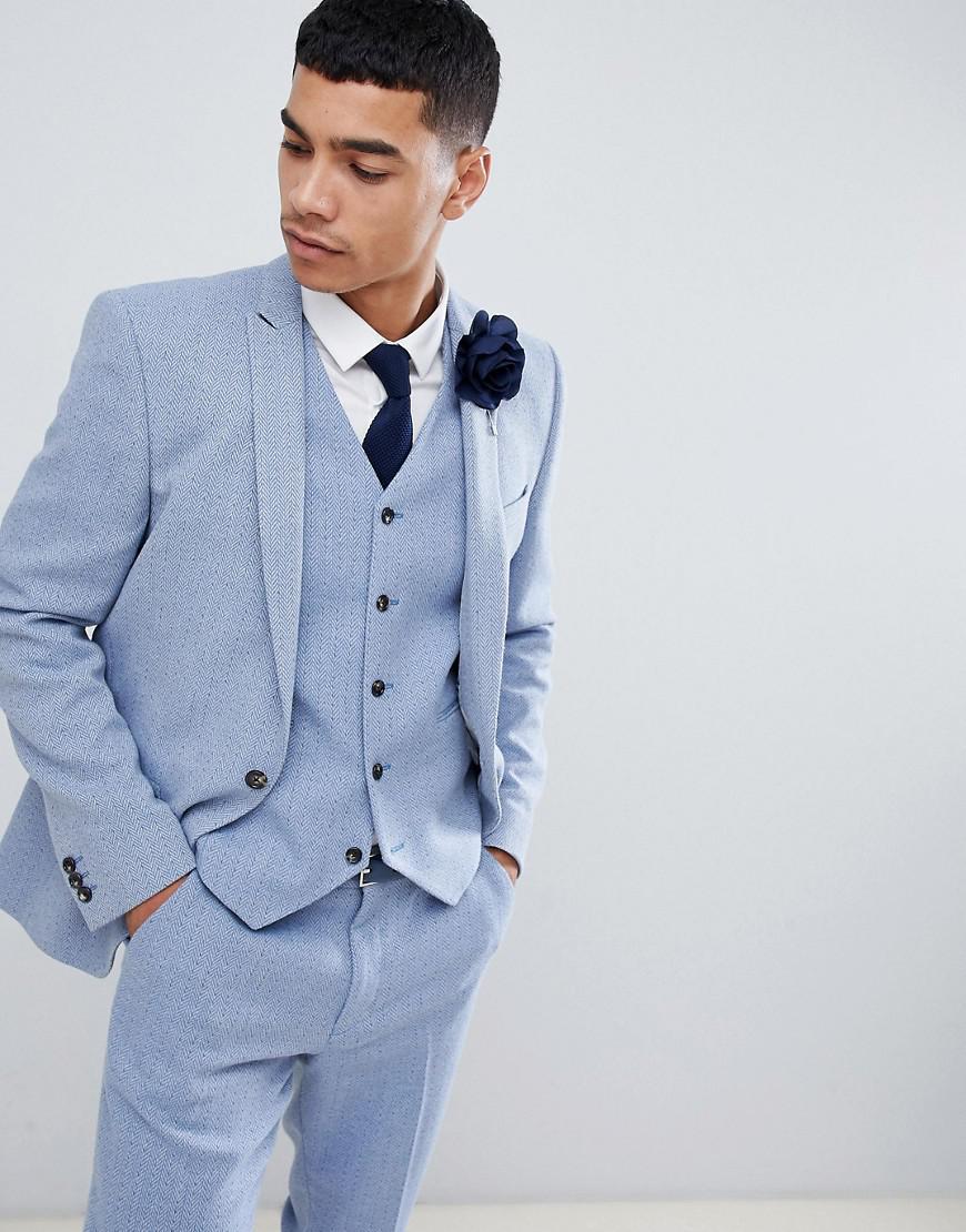 21c49701605396 ASOS Wedding Skinny Suit Jacket In Light Blue Herringbone in Blue ...