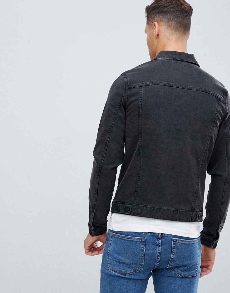 b086d638938fc ASOS - Skinny Denim Jacket In Washed Black for Men - Lyst. View fullscreen