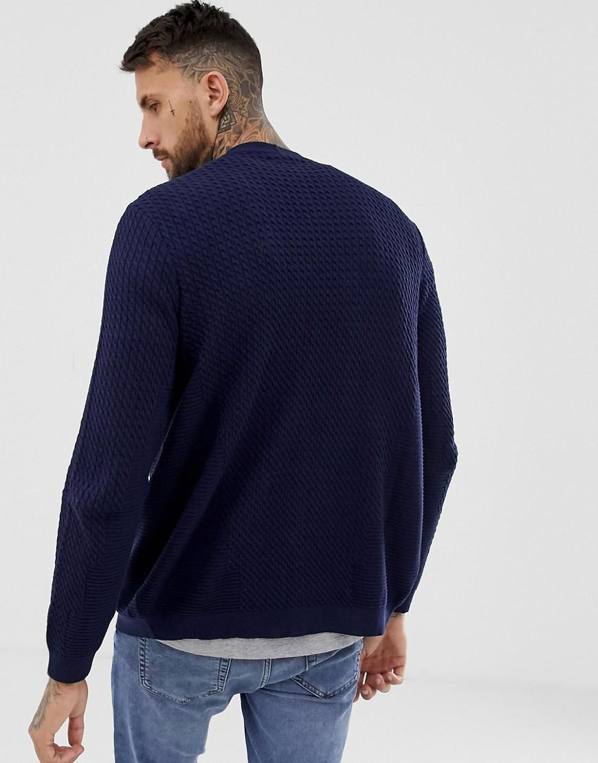c076d5df666 Lyst - ASOS Lightweight Cable Cardigan In Navy in Blue for Men