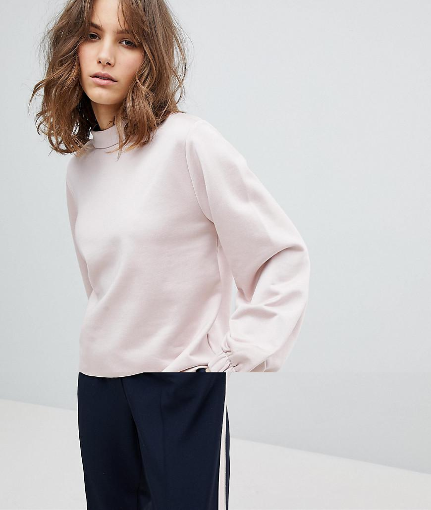 lyst selected femme sweatshirt with high neck and sleeve detail in pink. Black Bedroom Furniture Sets. Home Design Ideas