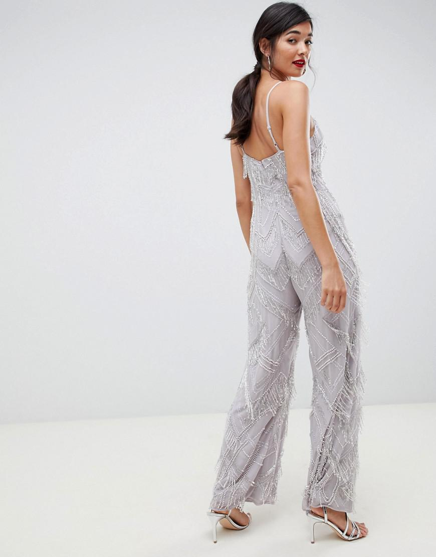 44002df47cb ASOS Fringe   Pearl Embellished Jumpsuit With Wide Leg - Lyst