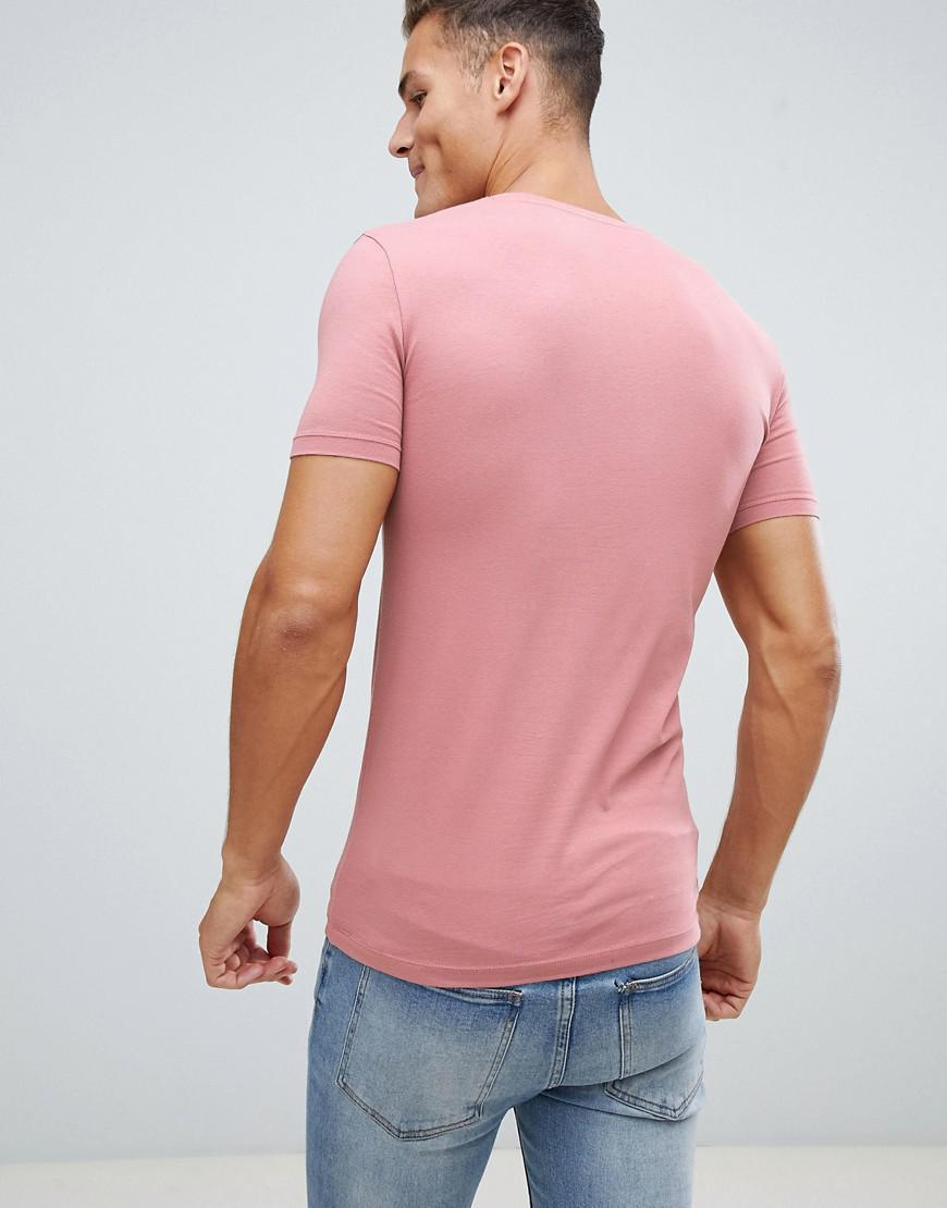 e1cb39c9 Asos Muscle Fit T-shirt With V Neck In Pink in Pink for Men - Lyst