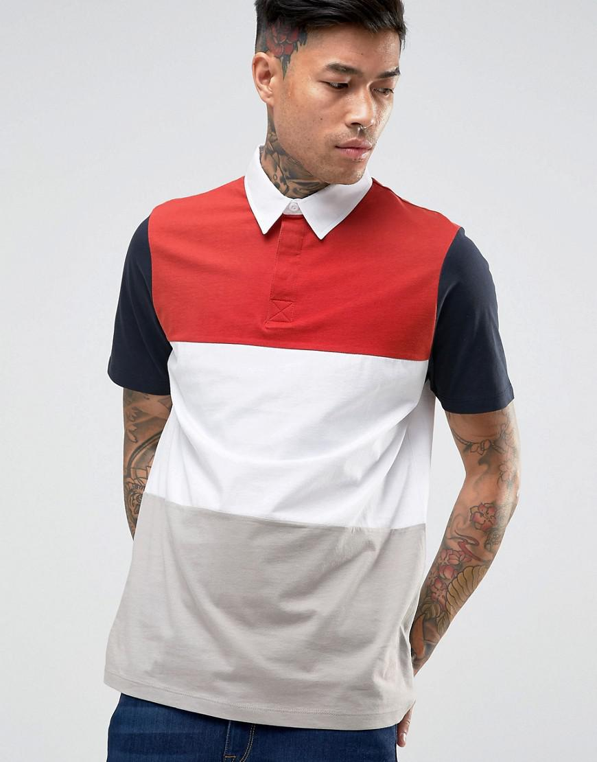 ASOS - Polo de rugby color block - Navy okxzaSS