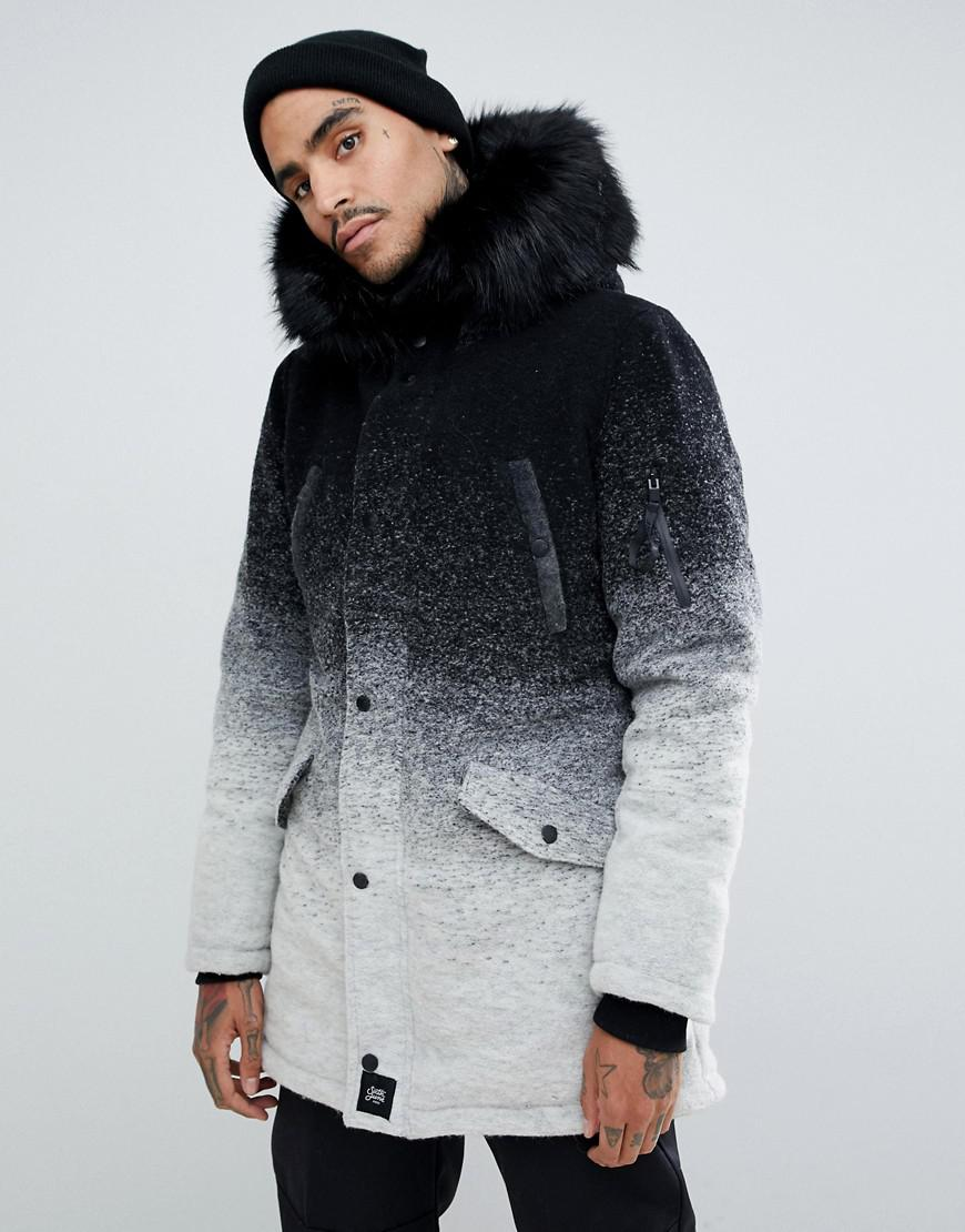 8b6d8ef261d7f Sixth June. Men s Parka Coat In Faded Black And White With Faux Fur Hood