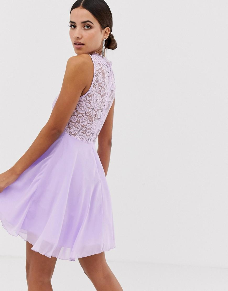 Lyst - AX Paris Skater Dress With Lace Insert in Purple 4e19bd0c2