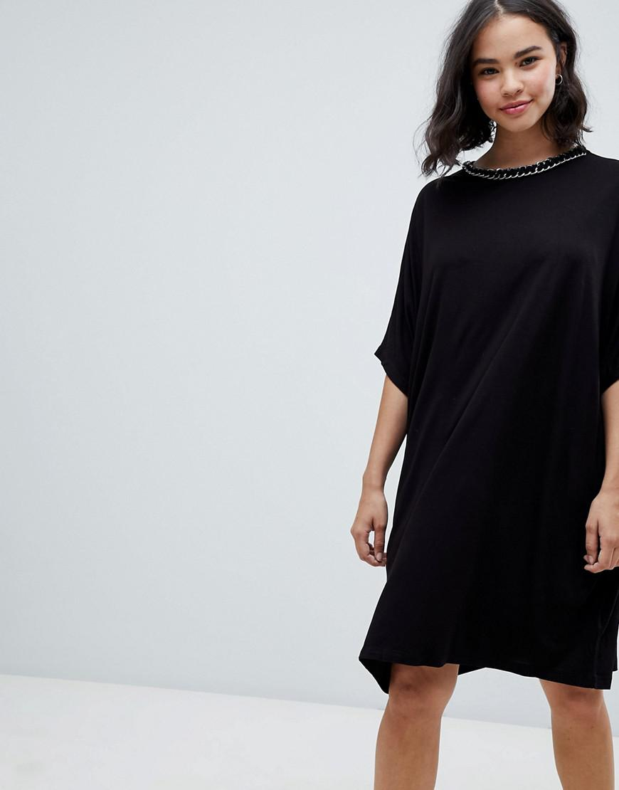 bad8a72e20 ASOS Asos T-shirt Dress With Batwing Sleeves And Chain Neck in Black ...