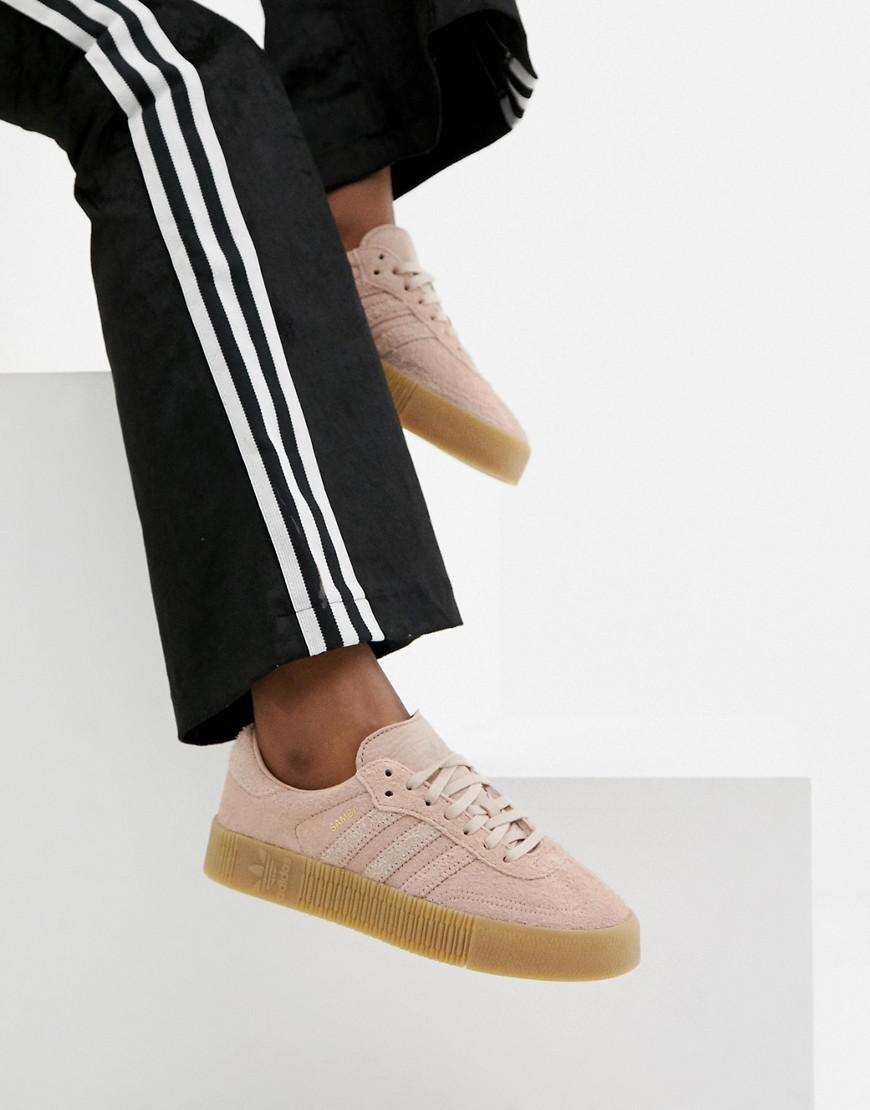 adidas Originals Leather Samba Rose Sneakers In Pink With