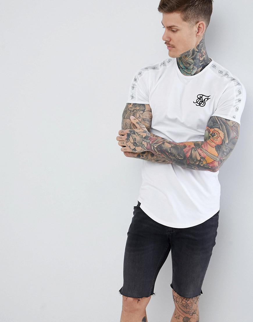 0be3e0f6 Siksilk Curved Hem T-shirt In White With Side Stripe in White for ...