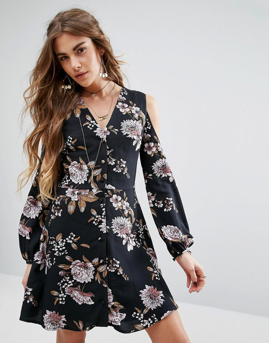 Wrap Front Dress With Ruffle Trim In Vintage Floral - Black multi Honey Punch 7a9NViraDx