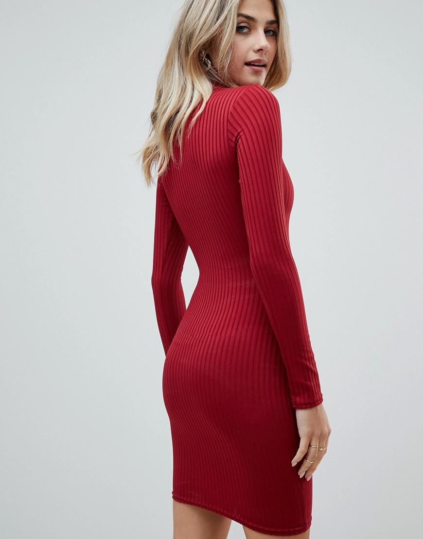e3455220d1f PrettyLittleThing Roll Neck Long Sleeve Bodycon Mini Dress In Red in Red -  Lyst
