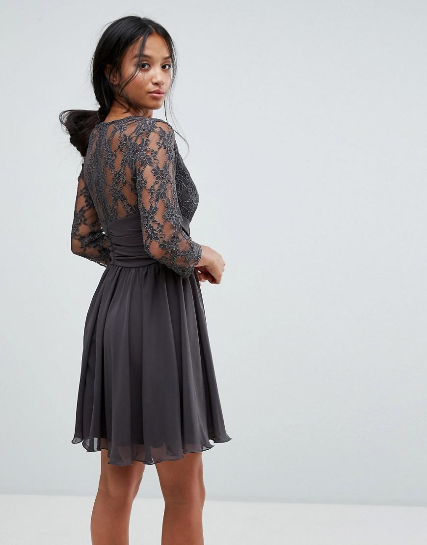 8a8dd5a4006 Lyst - Elise Ryan Petite Ruched Waist Lace Midi Dress With 3 4 Length  Sleeve in Gray