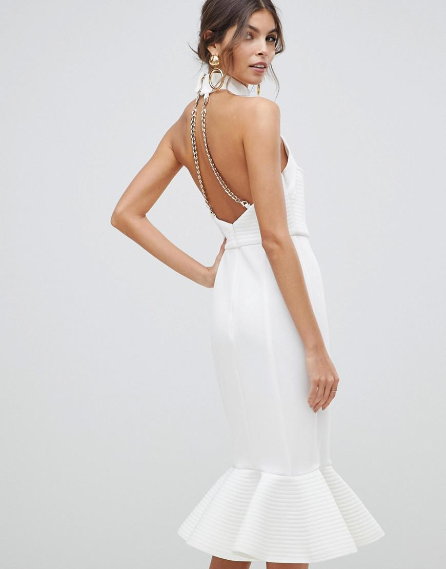 15b6aca7c1fa Lyst - ASOS Premium Cupped Halter Midi Bodycon Dress With Chain Back Detail  in White