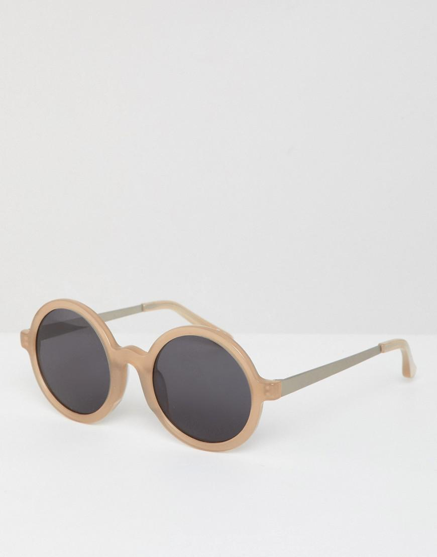 98369b9f9cb ASOS - Natural Round Sunglasses With Acetate Frame for Men - Lyst. View  fullscreen