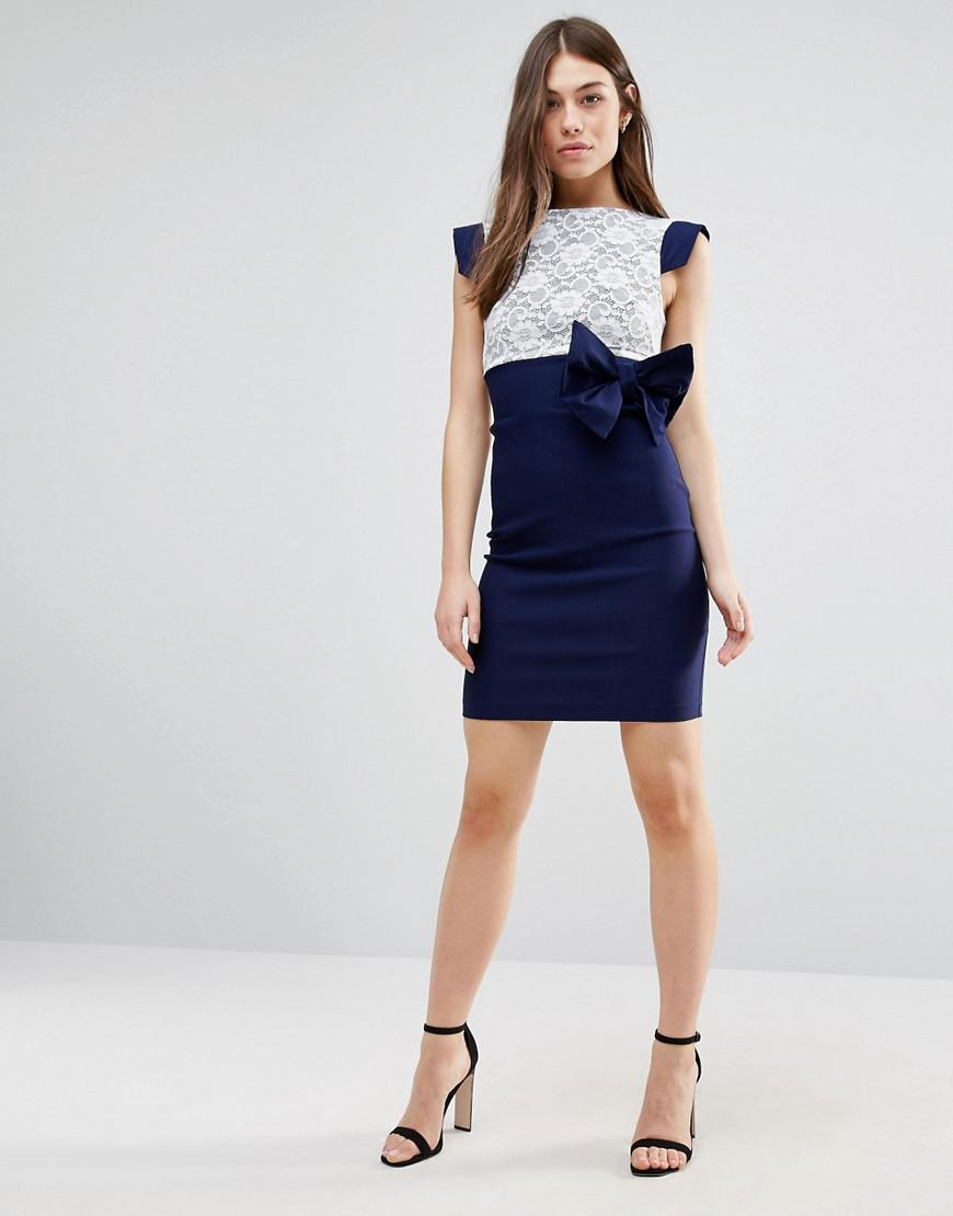 Mini Dress With Lace Panel And Bow Detail - Blue Vesper f51YC