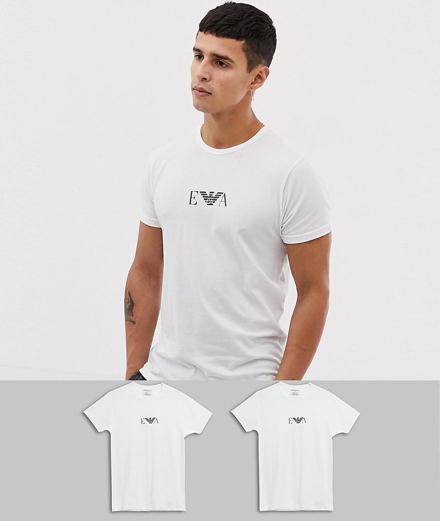 77ee13456f3 Emporio Armani - White Lot de 2 t-shirts confort avec logo for Men -.  Afficher en plein écran