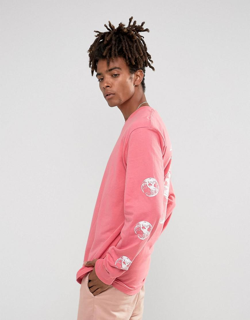 c95d04cd4cc5a3 Stussy Long Sleeve T-shirt With Stock World Back Print In Pink in ...