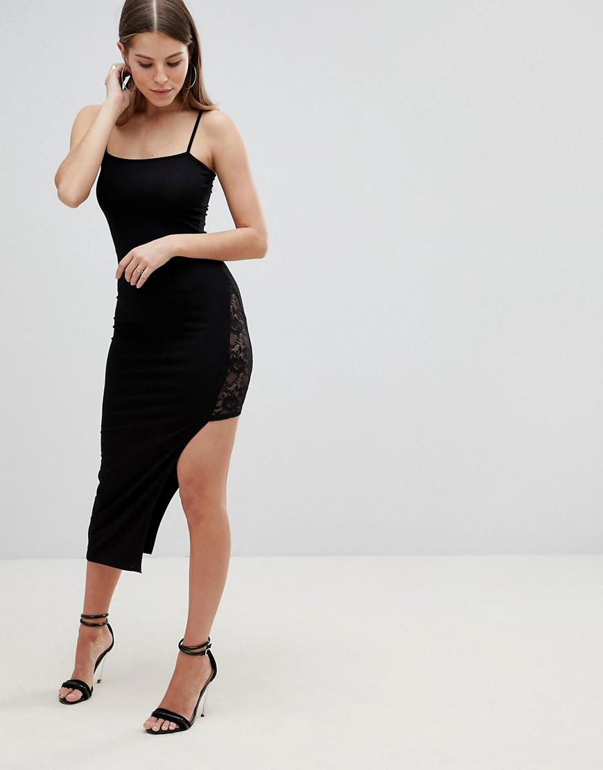 ae7f56a24320 Lyst - ASOS Maxi Slip Dress With Asymmetric Hem And Lace Thigh ...
