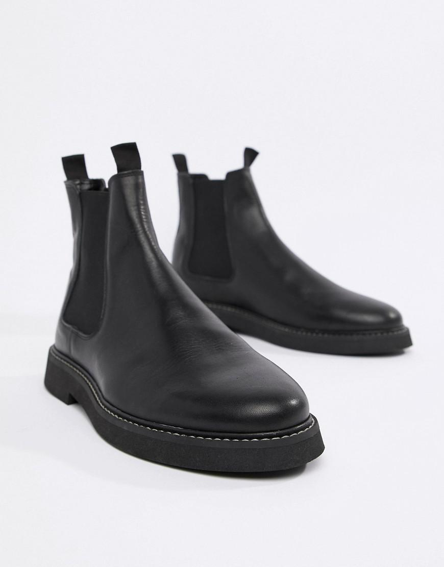 11bb0e3f041d Lyst - ASOS Chelsea Boots In Black Leather With Chunky Sole in Black for Men