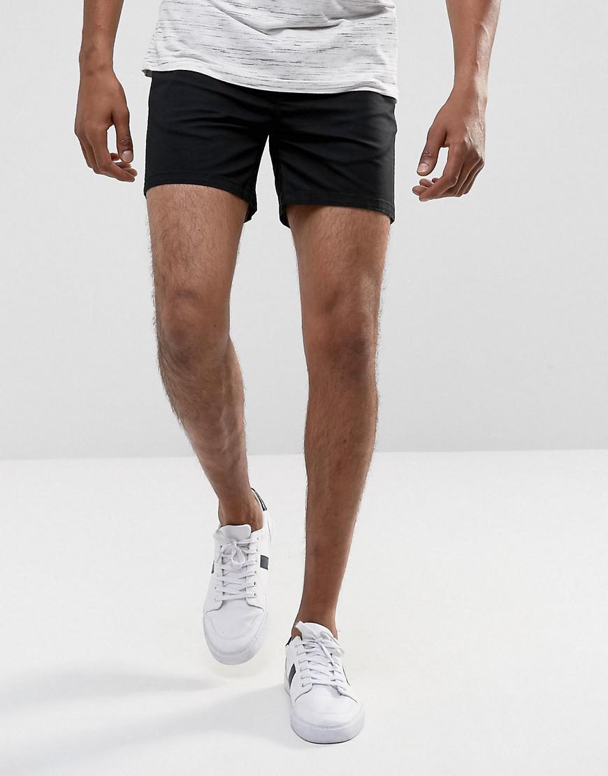 ASOS. Men's Black Chino Shorts In Skinny Fit Shorter Length