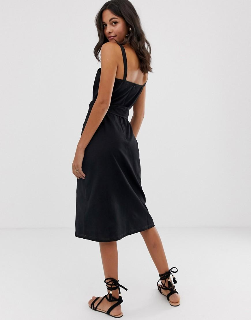 e0918b55038 Lyst - ASOS Square Neck Linen Midi Sundress With Wooden Buckle   Contrast  Stitch in Black