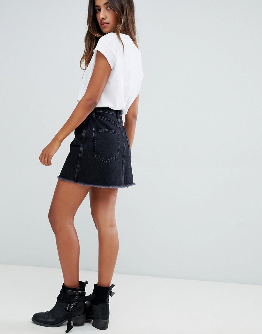d7a28d1ad1 Abercrombie & Fitch - Black Zip Thru Denim Mini Skirt - Lyst. View  fullscreen
