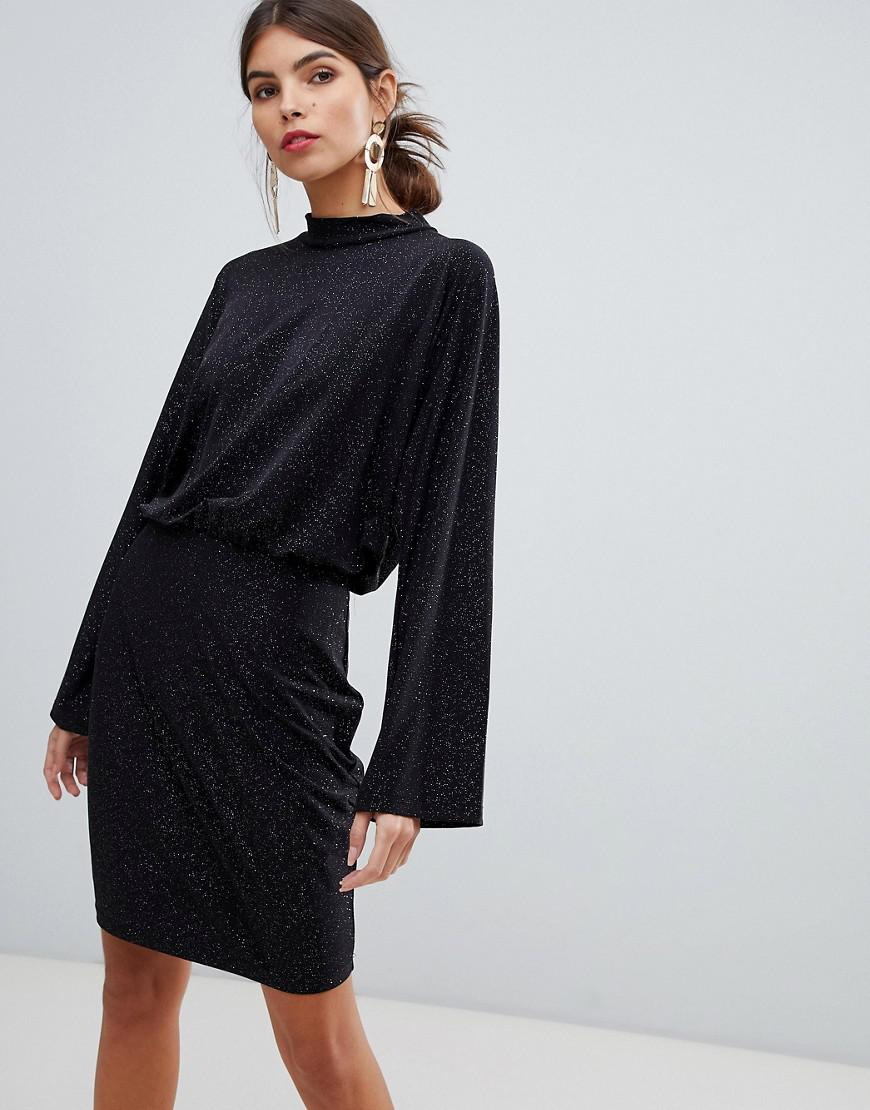 0fe095f66e Lyst - Vila Glitter Batwing Mini Dress in Black
