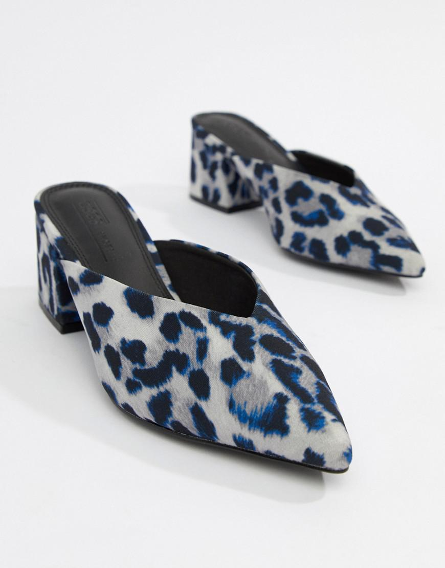 a0054a3edeb9 Lyst - Asos Design Starship Heeled Mules In Leopard Print in Blue