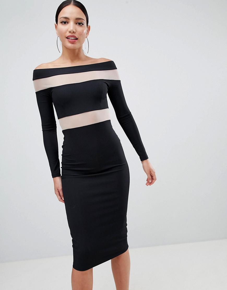 90b3205813f94 ASOS Mesh Insert Bardot Bodycon Midi Dress in Black - Lyst