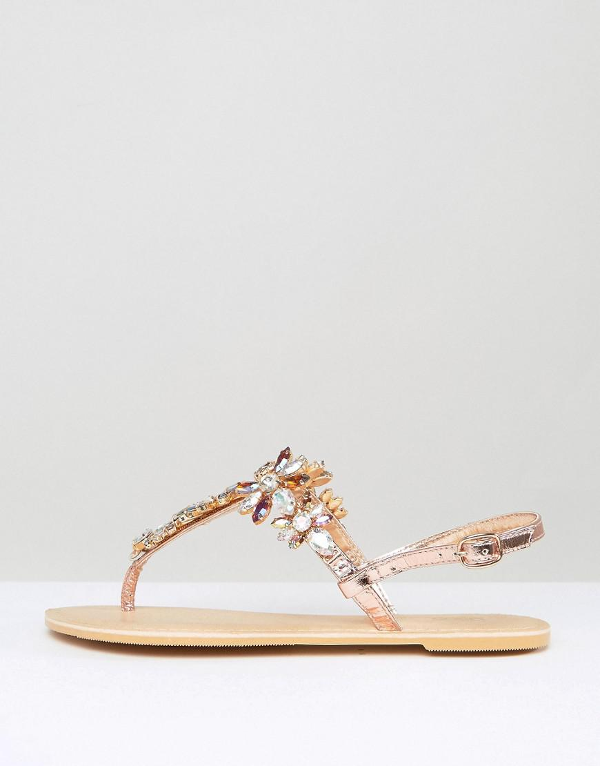 b376933be Lyst - ASOS Fairytale Wide Fit Leather Embellished Flat Sandals in ...