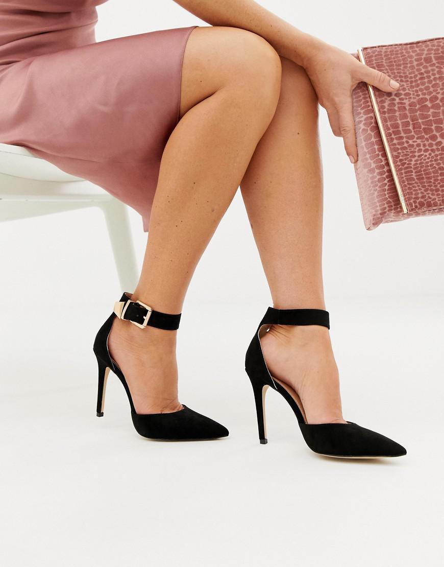 447fe5ae1284 Lipsy Gold Buckle Detail Court Shoe In Black in Black - Lyst