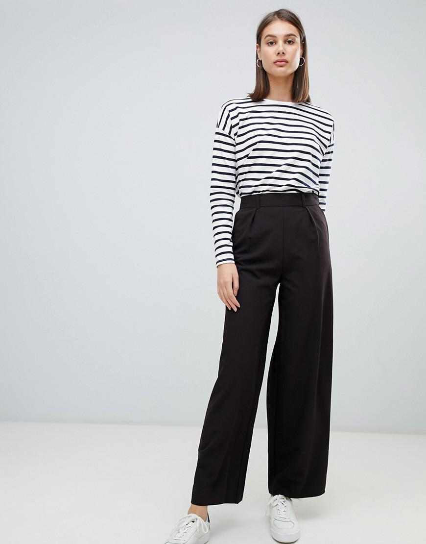87f09b5be4067 Lyst - ASOS Wide Leg Trousers With Pleat Detail in Black