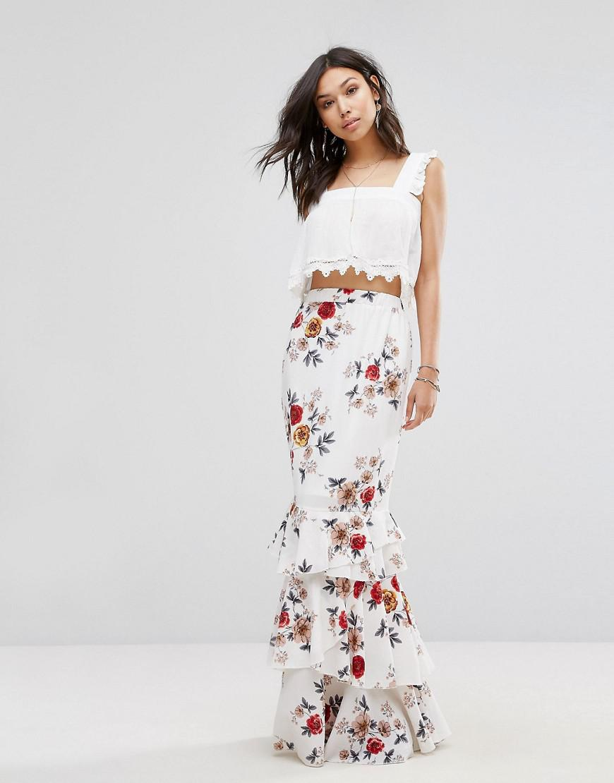 d77672f78d87e Boohoo Floral Maxi Skirt With Ruffle Hem in White - Lyst
