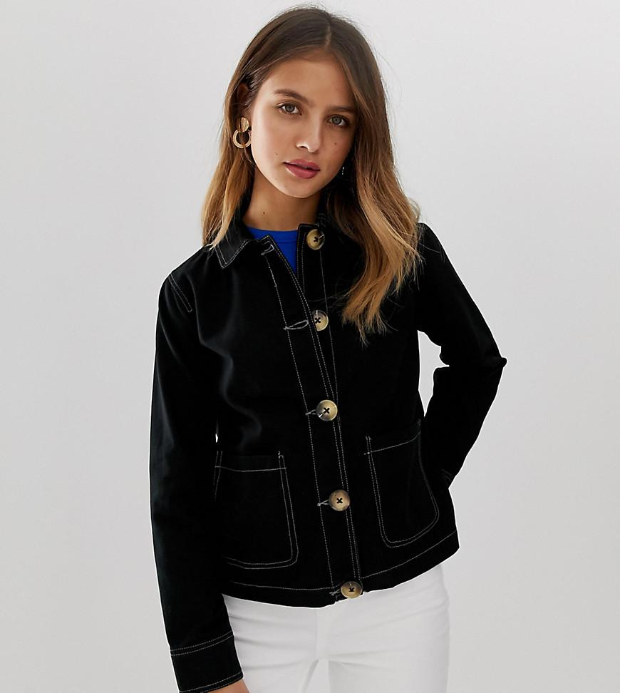 125927d589a60 New Look Utility Jacket With Contrast Stitch In Black in Black - Lyst
