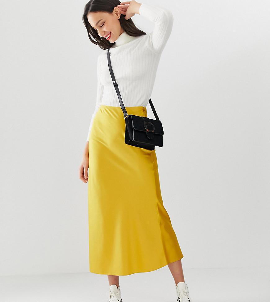 9a8787168a79 ASOS Asos Design Tall Bias Cut Satin Midi Skirt in Yellow - Lyst