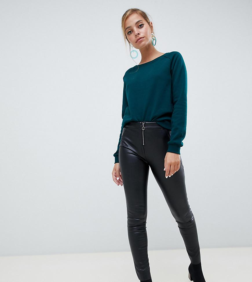 9d09a66abc7d4 Vero Moda Leather Look Trousers in Black - Lyst