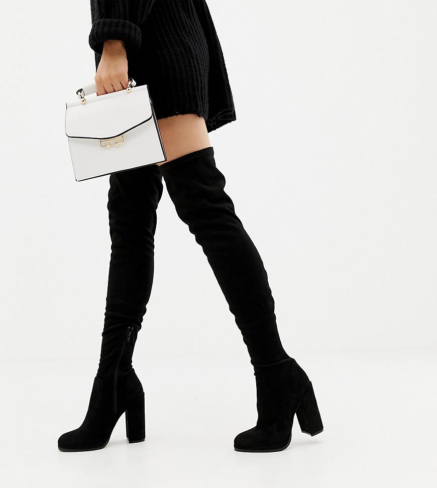 6251bce34569 ASOS. Women s Black Asos Design Wide Fit Tall Kassidy Heeled Over The Knee  Boots