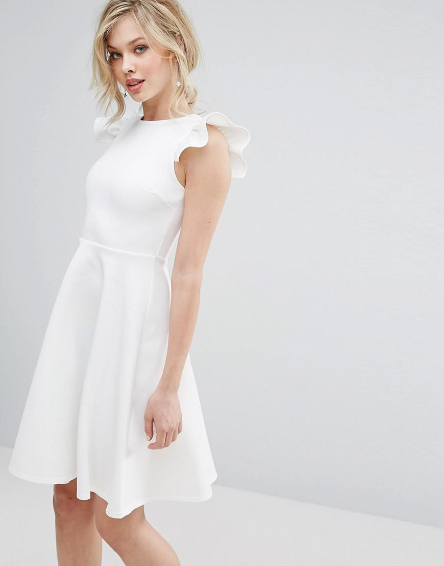 af370227818 Club L Frill Sleeve Pleat Detail Skater Dress in White - Lyst