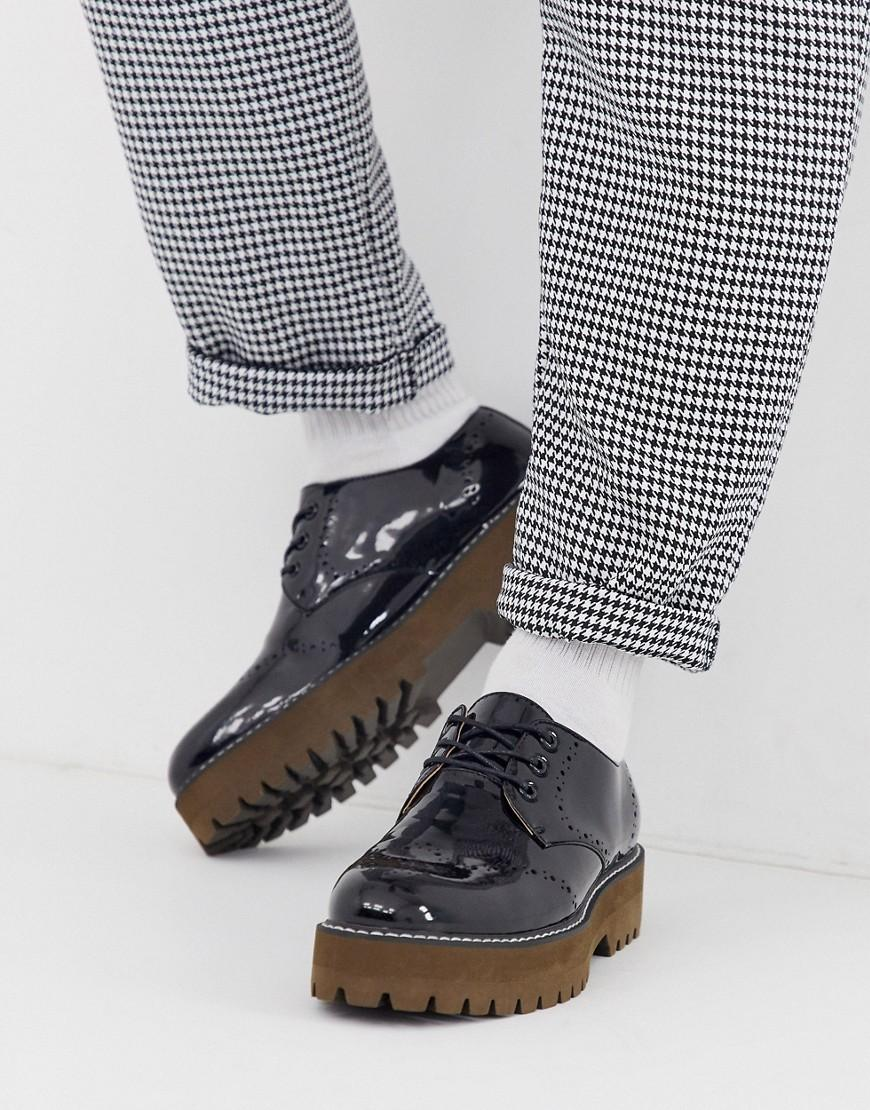 In Faux Sole Shoes Asos Black Chunky Leather With Brogue 0wPknO