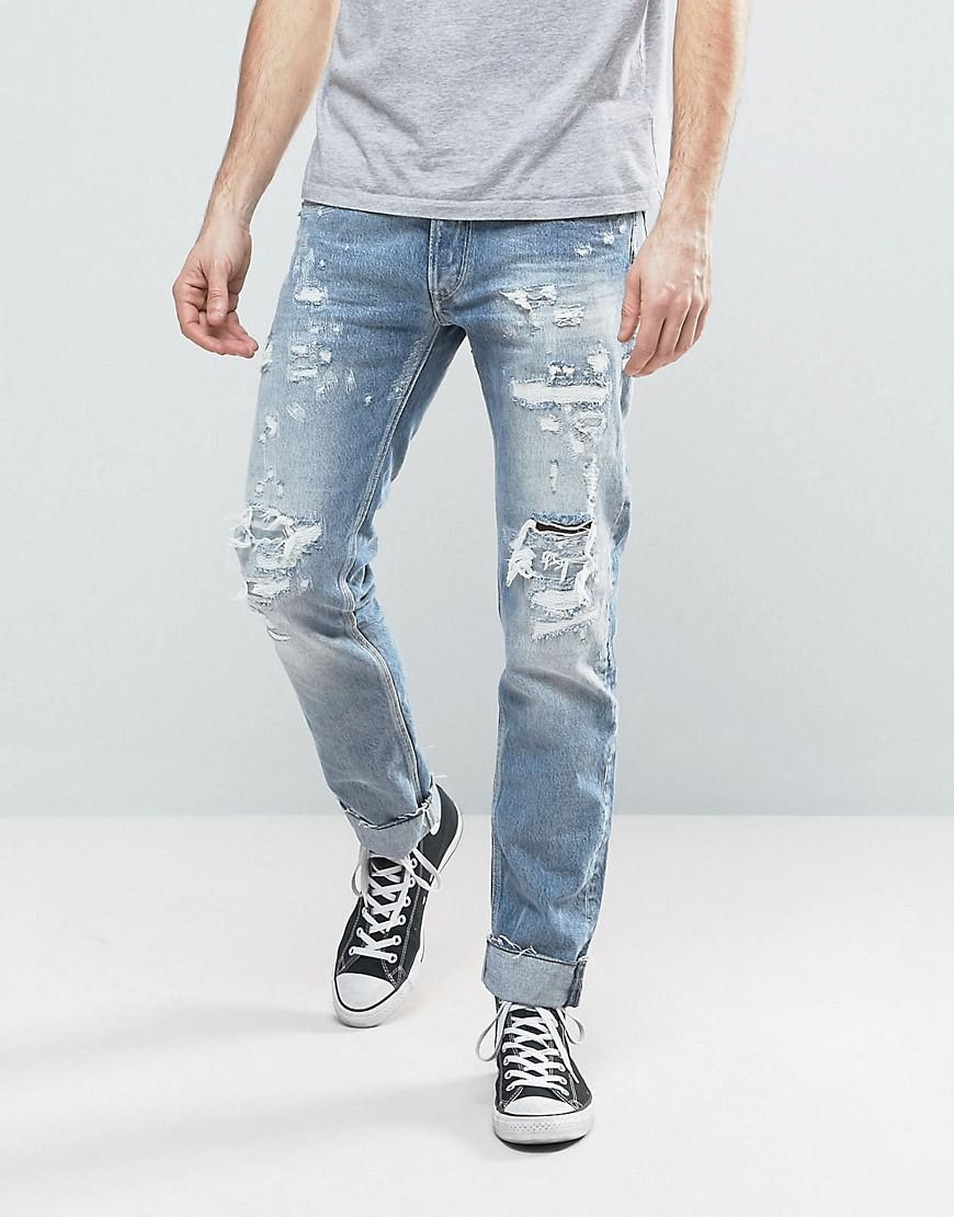 b15bfec4105 Replay Ronas Slim Fit Jeans Rip And Repair Light Wash in Blue for ...
