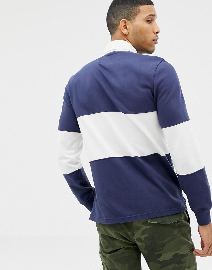7be35994 Abercrombie & Fitch Logo Chest Panel Long Sleeve Rugby Polo In Navy in Blue  for Men - Lyst